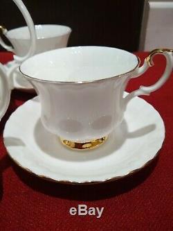 11 PC Set- Royal Albert White Gold Bone China Val DOr England Tea Set WithTeapot