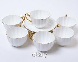 12-pc Set Shelley Fine Bone China England Teacup & Saucer White Fluted Gold Trim