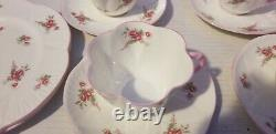 15 Piece SHELLEY FINE BONE CHINA ENGLAND BRIDAL ROSE SPRAY PATTERN DISH SET