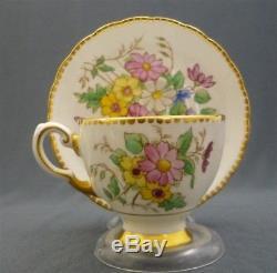 16 Piece Hand Painted Flowers Tuscan England Fine Bone China Tea Set for 4