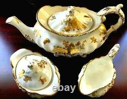 1940s England Hammersley Bone China Golden Floral Teapot Creamer Sugar Set MINT