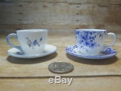 2 Sets Shelley Mini Tiny Porcelain Bone China Tea Cups & Saucers England
