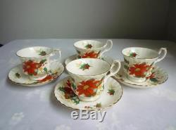 20 Pc Set Royal Albert Poinsettia China Four 5-pc Place Settings England