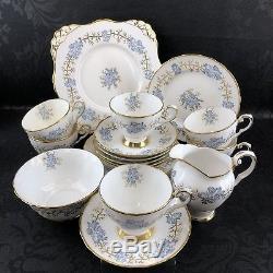 21 Piece Tuscan Bone China England Tea Serving Set Teacup Plate Vintage Tea Cup
