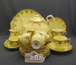 23 Piece Royal Albert England Yellow & Gold Bone China Tea Set Service For 6