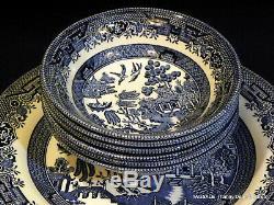 24 pcs CHURCHILL china BLUE WILLOW pattern 4 X 6 Piece Place Settings ENGLAND