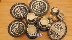 29 Pcs England Churchill Blue Willow China Set-Dinner-Bowl-Cups-Saucers & Gift