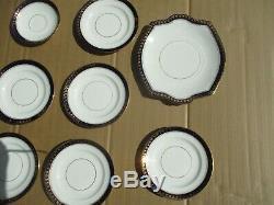 33 Piece BLYTH DIAMOND England Cobalt Blue China Tea / Luncheon Set