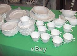 37 Pc-Set Vintage Royal Worcester Bone China White Snowflake England RARE