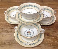 4 Cream Soup Saucer Sets Queen Elizabeth Coalport England 9448 Bone China 1940
