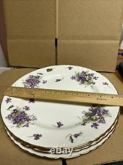 4 Hammersley Bone China England Victorian Violets Lyre Embos 4pc Place Settings
