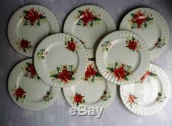 40 Pc Set Royal Albert Poinsettia China Eight 5-pc Place Settings England