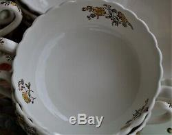 43PC Vintage Copeland Spode England China Buttercup Chelsea Wicker Set