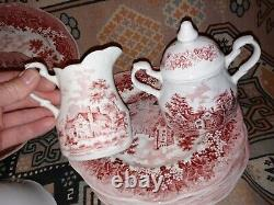 46 pcs JG Meakin Romantic England red transferware china dish set un used
