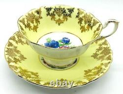 50s PARAGON Bone China England Yellow Background FLOWER #A24002 Set Cup & Saucer