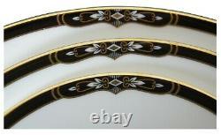 52 Pc Vintage Wedgwood Preston Bone China Dinnerware Set Black & Gold England
