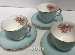 6 Ansley China Aqua Tea Cup & Saucer Bread + Sugar Creamer Set England Rose Gold
