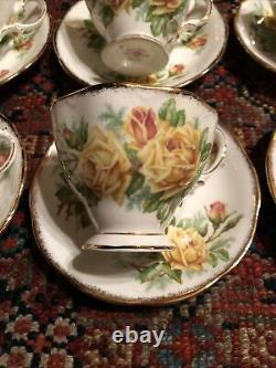 6 Royal Albert Yellow Tea Rose Tea Cup Saucer Set Bone China England 839056