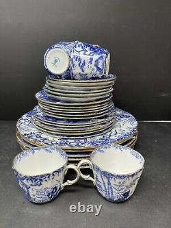 6 Royal Crown Derby Blue Mikado Place Settings England Bone China