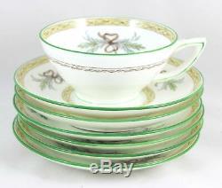 6 Sets Cup & Saucer Vintage Minton Bone China England Beverley B1310 Aqua Green