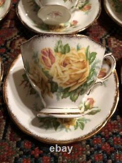 7 Royal Albert Yellow Tea Rose Tea Cup Saucer Set Bone China England 839056