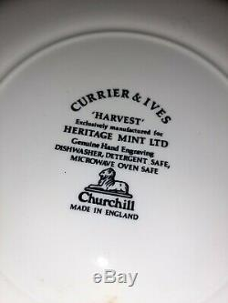 7 Sets Churchill China England Blue Willow'Harvest' Dinner Plates Cups Saucers