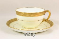 7 Sets Raised Gold Encrusted Cream Cup & Saucer Minton Bone China England G6286