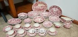 70 Pc Set Johnson Bros England China Historic America Pink Excellent Condition