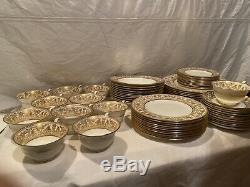72 Pc WEDGWOOD BONE CHINA, ENGLAND, FLORENTINE GOLD, W4219, 12PLACE SETTINGS
