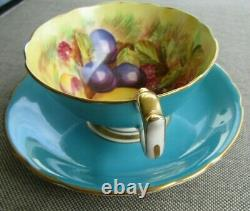 AYNSLEY Turquoise Signed D. Jones Teacup and Saucer Set England China Orchard