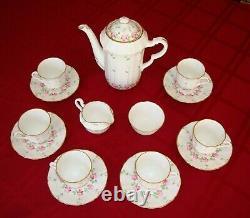 Adderley England Bone China Hand Painted Coffee Tea Set, Pot Sugar Cream 6 Cups