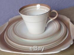 Antique 1910's England bone china tea cup teacup saucer cake plate trio set