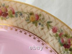 Antique 1912 Pink Royal Worcester Porcelain China Dish Set of 4 Beautiful