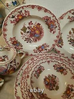 Antique 48 piece Set Mason's Ironstone Fruit Basket Patent China England