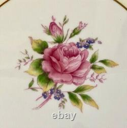 Antique Aynsley England Bone China Burgundy Red Pink Roses Gold Dinner Plate Set