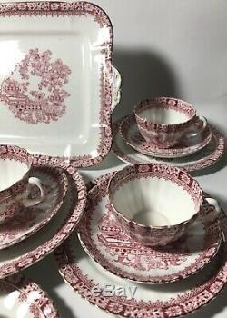 Antique Blair's China Company of England 19 Piece Tea Set Red & Gold Design