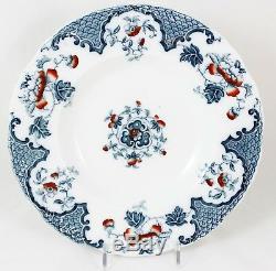 Antique Set 10 Large Rim Soup Bowls Meakin England China Sevres Flow Blue Floral