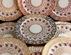 Antique Set 12 Cauldon England China Dinner Plates Gold Encrusted Pink Roses
