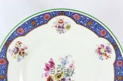Antique Set 4 Dinner Plates Royal Doulton Bone China Pink Flowers Blue Green