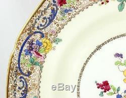Antique Set 4 Dinner Plates Royal Doulton China Ra731 V1000 Flowers Gold Cream