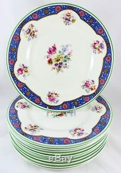 Antique Set 6 Dinner Plates Royal Doulton Bone China Pink Flowers Blue Green