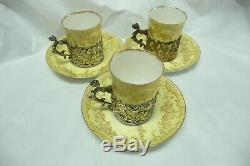 Antique Set of 3 demitasse cup and saucer england Sterling Silver Holder