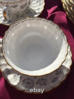Antique Spode Colonel Grey Gold Trim Bone China. 35 piece set. Made in England
