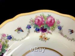 Antique Spode Copeland's China England Hand Painted Floral Dessert Plates Set 12