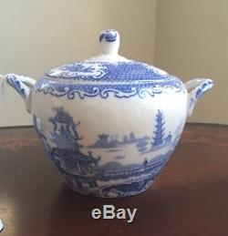 Antique Tea Set England Allerton's Flow Blue Willow China Chinese Pagoda