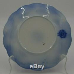 Antique W H Grindley Flow Blue Gold Rim Gilt England China Set of 4 Bread Plates