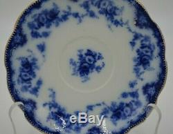 Antique W H Grindley Flow Blue with Gold Rim Gilt England China Set of 5 Saucers