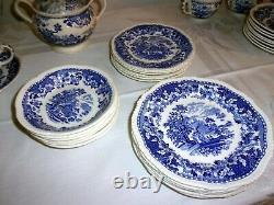 Antique Woods Burslem ENGLAND Chinoiserie Blue Seaforth China SET 56 PIECE vtg