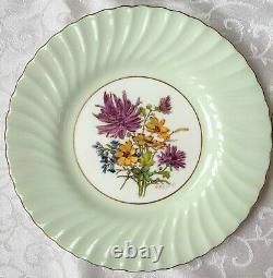 Antique set 12 MINTON England China Green swirl flowers in center Luncheon plate