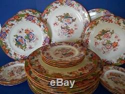 Art Deco 1920s Cauldon China England Dinner Set Plates Hand Painted 26 Piece